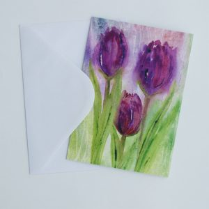 Tulips, flowers, watercolour, greeting cards