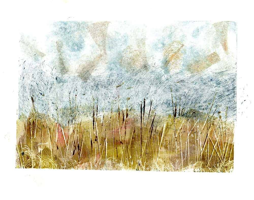 Monotype, landscape, Quantocks, printmaking, colour, Intaglio inks, Rhenalon, mark making, texture