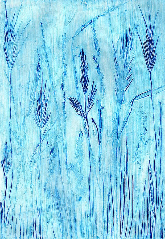 collagraph, meadow, printmaking techniques, fields, hedgerow, plants, grasses