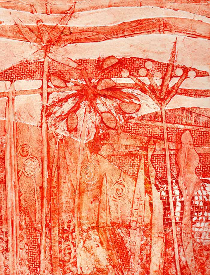 collagraph, meadow, printmaking techniques, fields, flowers, hedgerow, plants, grasses