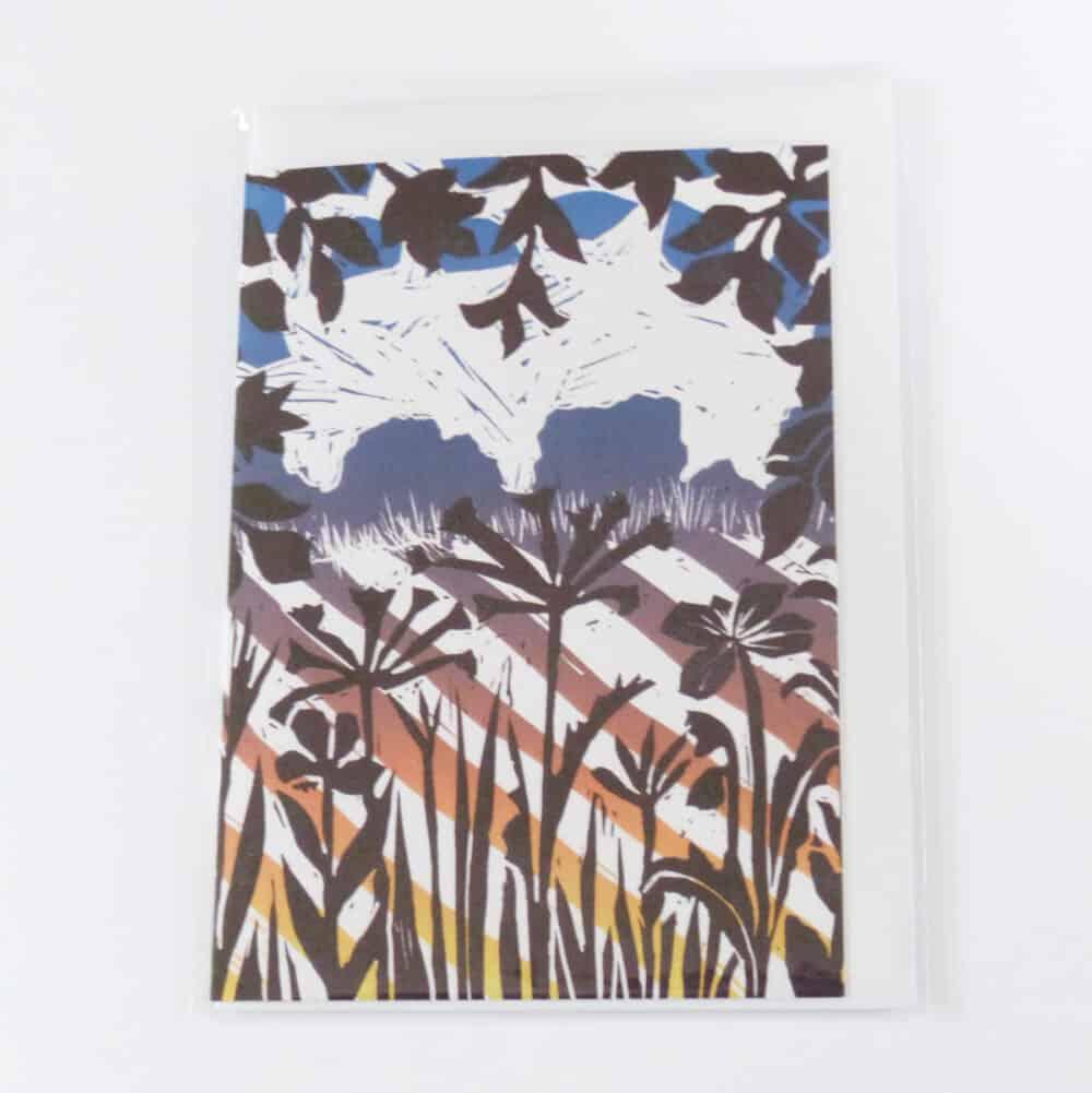 linocut, trees, landscape, fields, crops, colourful,