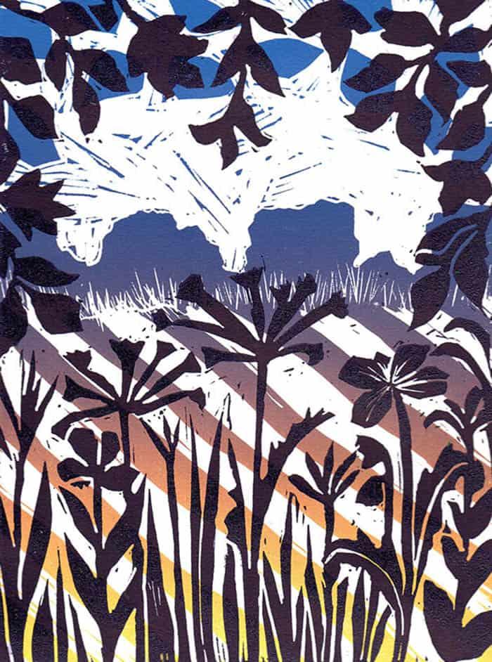 Meadow, linocut, printmaking techniques, trees, fields, hedgerow, grasses, wildflowers