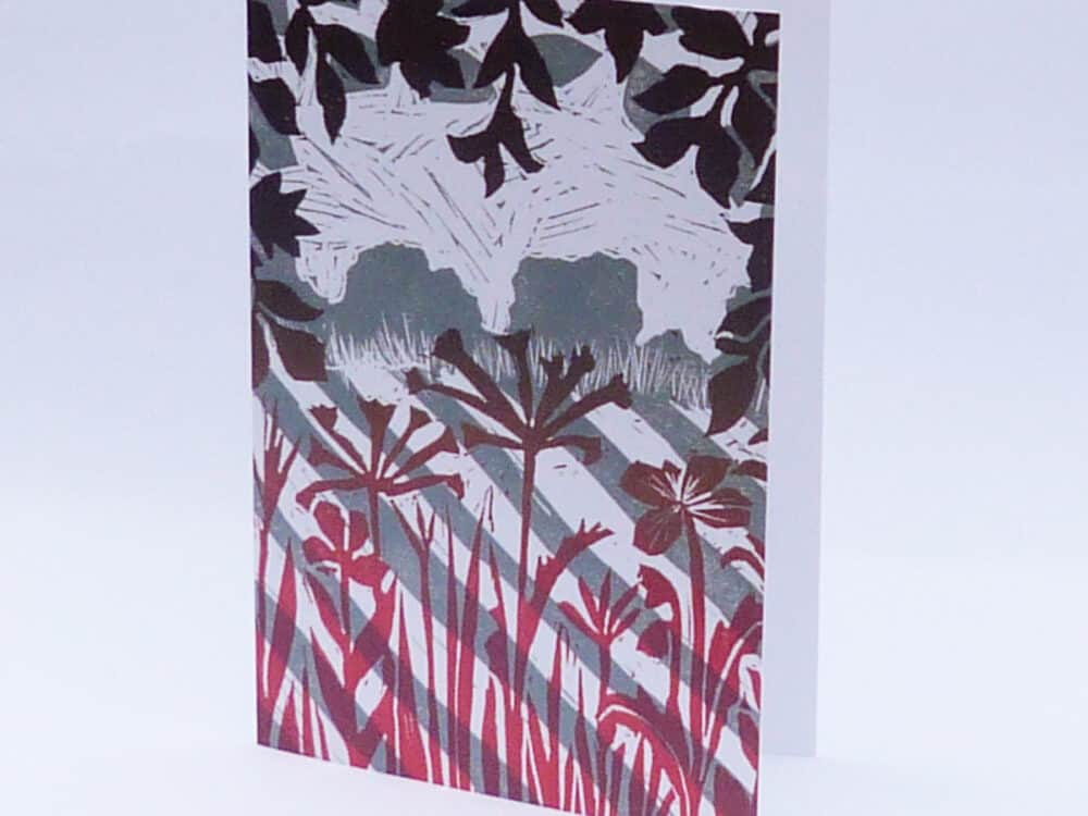 linocut, trees, landscape, fields, crops, colourful,