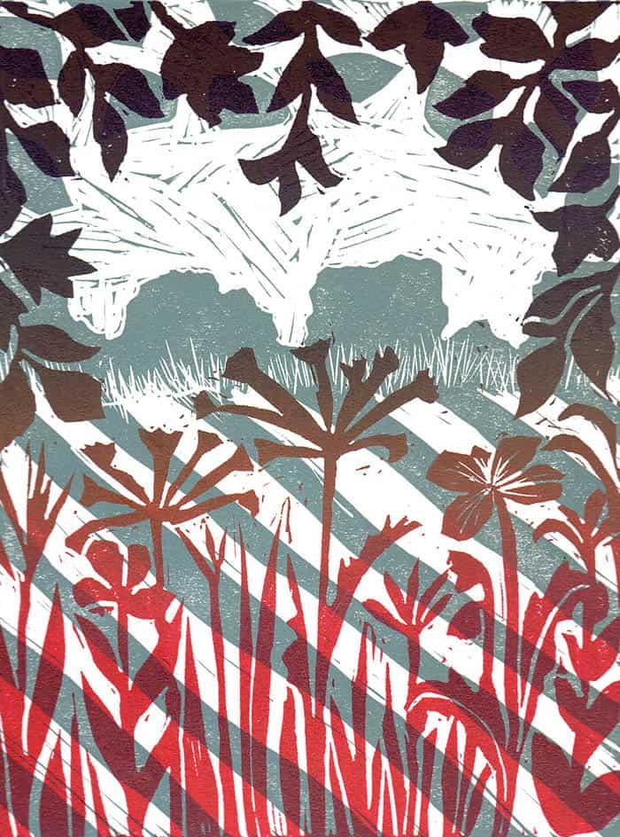Hunton Lane, linocut, meadow, printmaking techniques, trees, fields, hedgerow, grasses, wildflowers