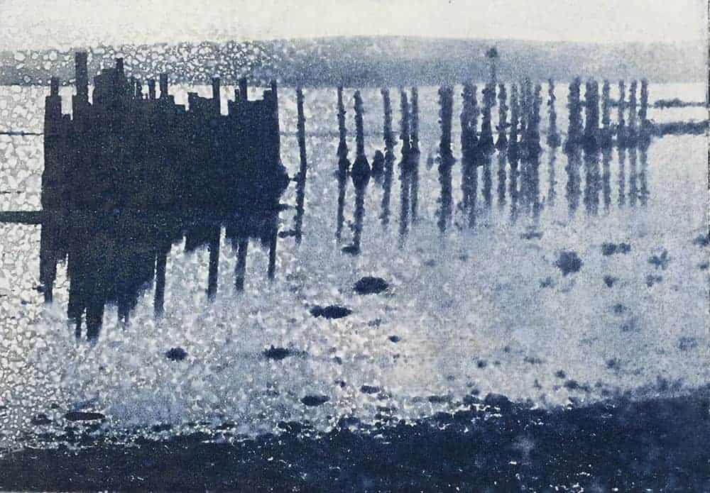 seascape, mudflats, coast, evening, tidal, photopolymer etching, printmaking