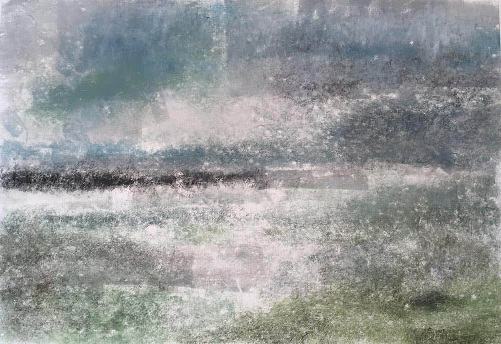 monotype, printmaking, colour, coast, marshes, Hampshire, Keyhaven, seascape, sea