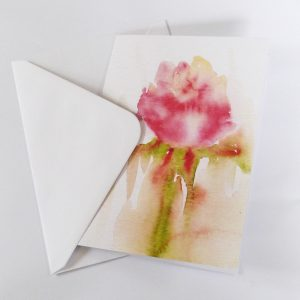 rose, pink, watercolour, greeting card, recycled card, delicate, floral,