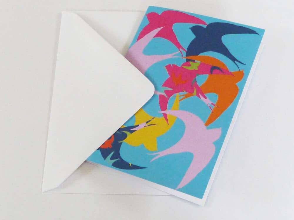 swifts, birds, greeting card,