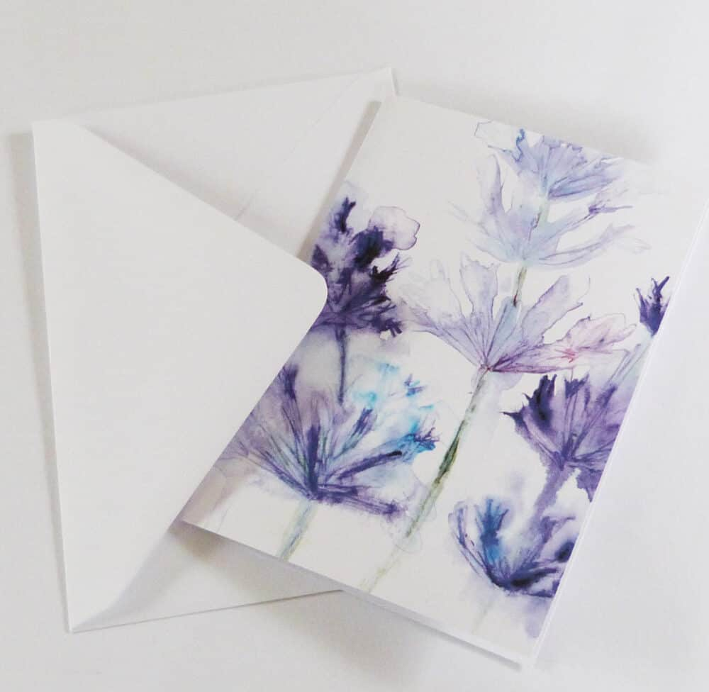 watercolour, lavender, purple, greeting card, blank card, garden plants