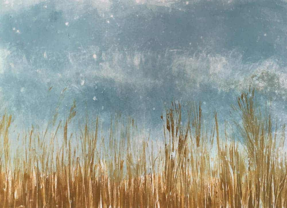 monotype, print, printmaking, Hampshire, coast, seaside, reeds,