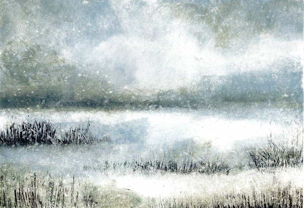 monotype, coast, printmaking, marshes, Norfolk, coast,