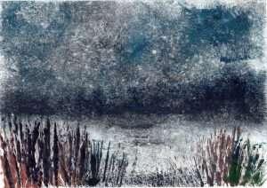 monotype, print, printmaking, Keyhaven, Hampshire, sea, marshes, coast, grasses, water, evening,