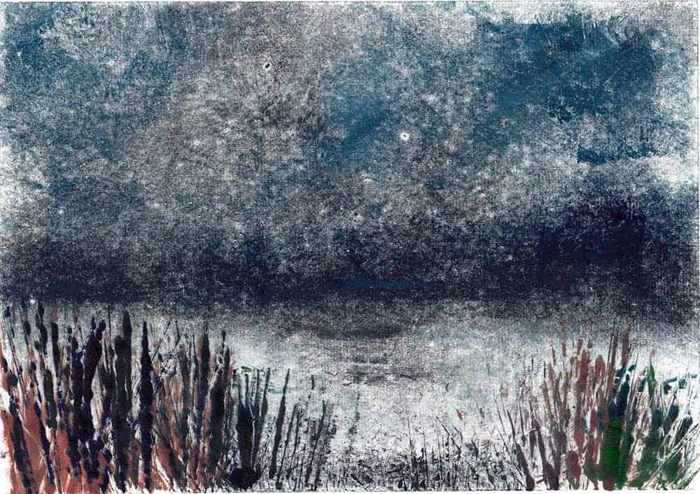 monotype, print, printmaking, Keyhaven, Hampshire, sea, marshes, coast, grasses, water, evening,