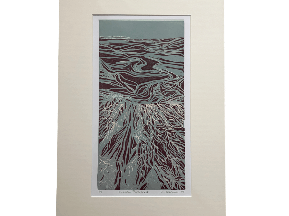 linocut, Clevedon, low tide, artwork, printmaking, limited edition print