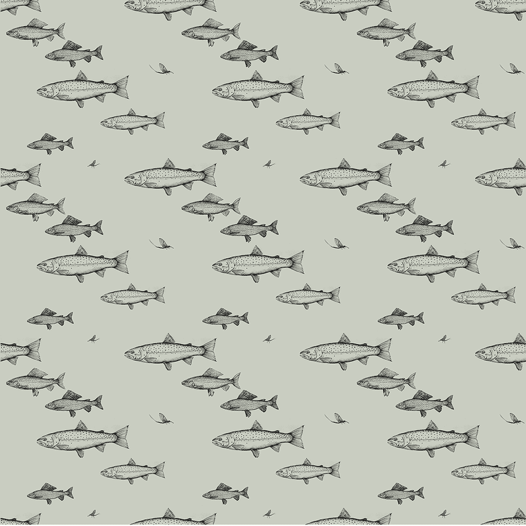 Chalk Stream Fish furnishing fabric, imagery of Brown Trout, Grayling, Mayflfy and Blue Winged Olive
